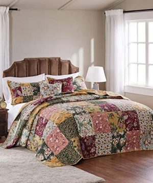 3 Piece Oversized King Bedspread Quilt Set To The Floor French Country Patchwork Pattern Floral Paisley Prints Red Coral Moss Sage Green Mustard Yellow Golden Tan Navy Blue Beautiful Colors 0 2 300x360