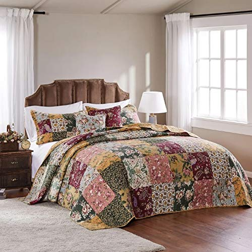 3 Piece Oversized King Bedspread Quilt Set To The Floor French Country Patchwork Pattern Floral Paisley Prints Red Coral Moss Sage Green Mustard Yellow Golden Tan Navy Blue Beautiful Colors 0 2