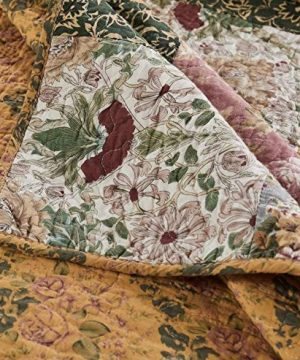 3 Piece Oversized King Bedspread Quilt Set To The Floor French Country Patchwork Pattern Floral Paisley Prints Red Coral Moss Sage Green Mustard Yellow Golden Tan Navy Blue Beautiful Colors 0 3 300x360