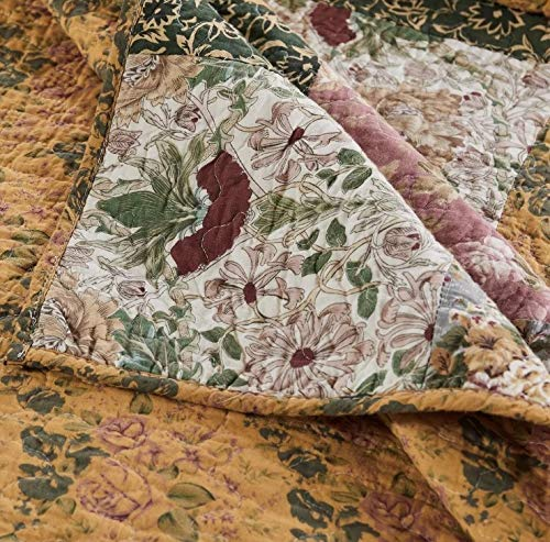 3 Piece Oversized King Bedspread Quilt Set To The Floor French Country Patchwork Pattern Floral Paisley Prints Red Coral Moss Sage Green Mustard Yellow Golden Tan Navy Blue Beautiful Colors 0 3