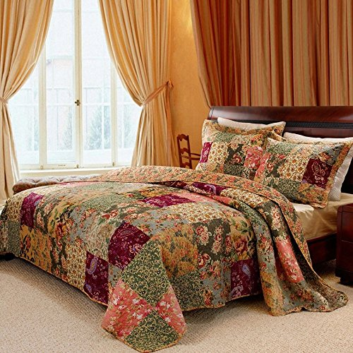 3 Piece Oversized King Bedspread Quilt Set To The Floor French Country Patchwork Pattern Floral Paisley Prints Red Coral Moss Sage Green Mustard Yellow Golden Tan Navy Blue Beautiful Colors 0