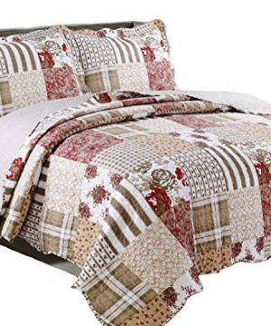 3 Piece Quilt Set Americana Full Queen Soft Bedspread Set Reversible Patchwork Coverlet With Shams 0 300x360