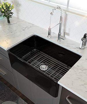 33 Farmhouse Sink Black Lordear 33 Inch Kitchen Sink Apron Front Black Fireclay Porcelain Ceramic Single Bowl Glossy Farm Kitchen Sinks 0 300x360