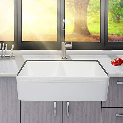 33 Farmhouse Sink Kichae 33 Inch White Kitchen Sink Double Bowl 50 50 Apron Front Reversible White Ceramic Porcelain Farmhouse Goals
