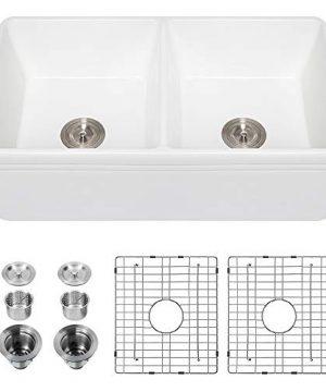 33 Farmhouse Sink Kichae 33 Inch White Farm Kitchen Sink Double Bowl Apron Front Reversible Ceramic Porcelain Fireclay Farm Sink 0 300x360