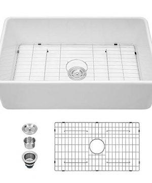 33 Farmhouse Sink White Sarlai 33 Inch Kitchen Sink Apron Front Ceramic Porcelain Vitreous Fireclay Single Bowl Farmer Sink Basin 0 300x360