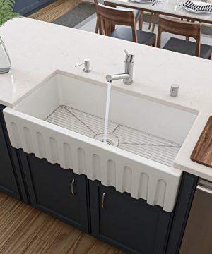 ALFI Brand AB3618HS W 36 White Smooth Apron Single Bowl Reversible Fireclay Farm Sink 0 300x360