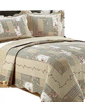 ALL FOR YOU 2 Piece Reversible BedspreadCoverletQuilt Set Beige Pink Burgundy And Gray Green Prints Twin 0 300x360