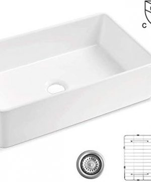 ALWEN 33 White Farmhouse Sink Fireclay 33 Apron Front Sink Luxury Single Basin Kitchen Sink 33 Inch Farmhouse Sink White Ceramic Sink With Stainless Steel Grid And Strainer 0 300x360