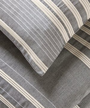 Amazon Brand Stone Beam Casual Pleated Stripe 100 Cotton Duvet Cover Set Easy Care Full Queen Chambray 0 0 300x360