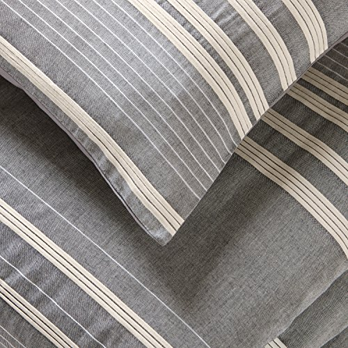 Amazon Brand Stone Beam Casual Pleated Stripe 100 Cotton Duvet Cover Set Easy Care Full Queen Chambray 0 0
