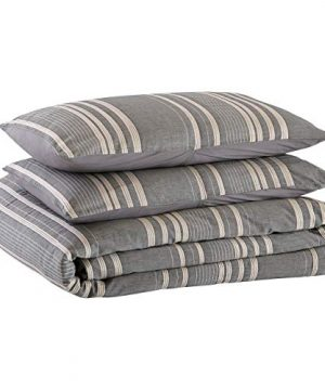 Amazon Brand Stone Beam Casual Pleated Stripe 100 Cotton Duvet Cover Set Easy Care Full Queen Chambray 0 4 300x360