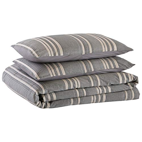 Amazon Brand Stone Beam Casual Pleated Stripe 100 Cotton Duvet Cover Set Easy Care Full Queen Chambray 0 4