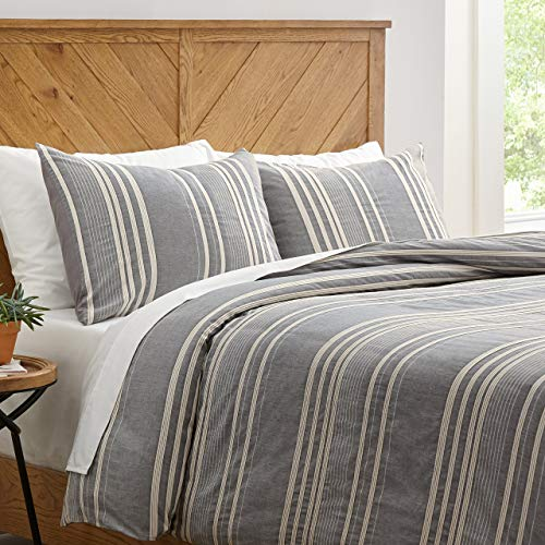 Amazon Brand Stone Beam Casual Pleated Stripe 100 Cotton Duvet Cover Set Easy Care Full Queen Chambray 0