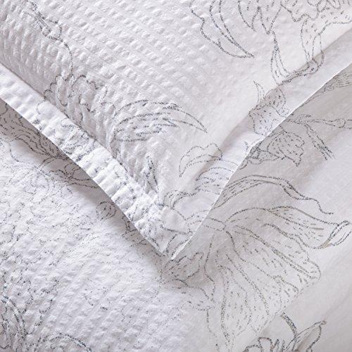 Amazon Brand Stone Beam Farmhouse Distressed Seersucker Duvet Cover Set Full Queen White And Blue 0 0