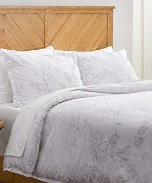 Amazon Brand Stone Beam Farmhouse Distressed Seersucker Duvet Cover Set Full Queen White And Blue 0 300x360