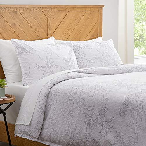Amazon Brand Stone Beam Farmhouse Distressed Seersucker Duvet Cover Set Full Queen White And Blue 0
