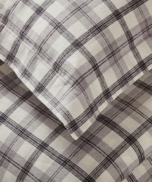 Amazon Brand Stone Beam Rustic Plaid Flannel Duvet Cover Set Full Queen Black And White 0 0 300x360