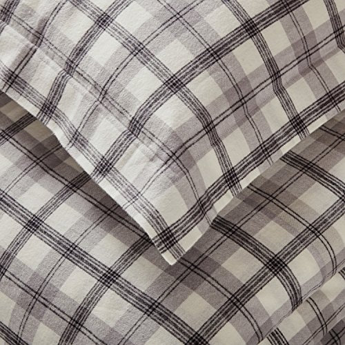 Amazon Brand Stone Beam Rustic Plaid Flannel Duvet Cover Set Full Queen Black And White 0 0