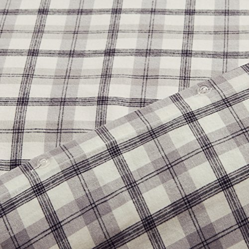 Amazon Brand Stone Beam Rustic Plaid Flannel Duvet Cover Set Full Queen Black And White 0 2