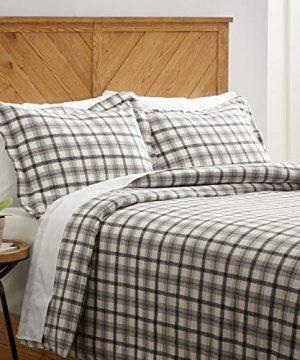Amazon Brand Stone Beam Rustic Plaid Flannel Duvet Cover Set Full Queen Black And White 0 300x360