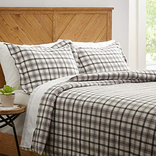 Amazon Brand Stone Beam Rustic Plaid Flannel Duvet Cover Set Full Queen Black And White 0