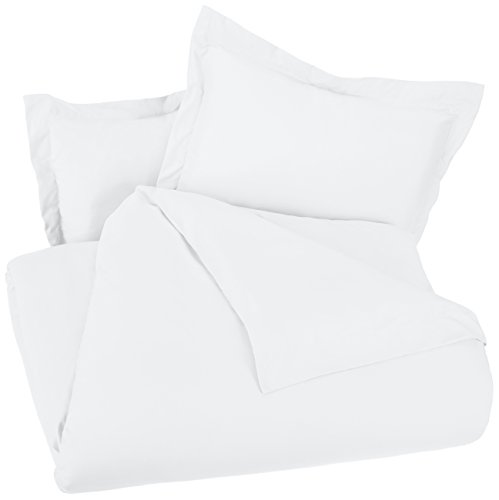 AmazonBasics Light Weight Microfiber Duvet Cover Set With Snap Buttons FullQueen Bright White 0 1