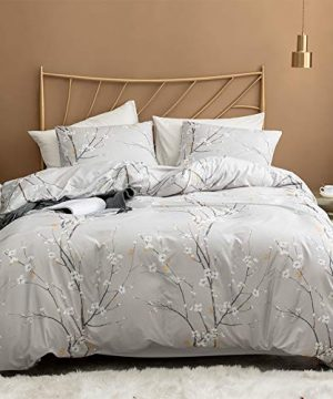 Argstar 2 Pcs Twin Duvet Covers Set Branch And Plum Printed Pattern Bed Sets Cream Floral Comforter Cover With Zipper Ties Ultra Soft Lightweight Microfiber 1 Duvet Cover And 1 Pillow Sham 0 300x360
