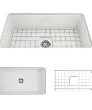 BOCCHI 1362 001 0120 Sotto Undermount Fireclay 32 In Single Bowl Kitchen Sink With Protective Bottom Grid And Strainer In White 0 300x360