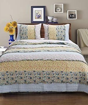 Barefoot Bungalow Ditsy Ruffle Quilt Set Twin Calico 0 300x357