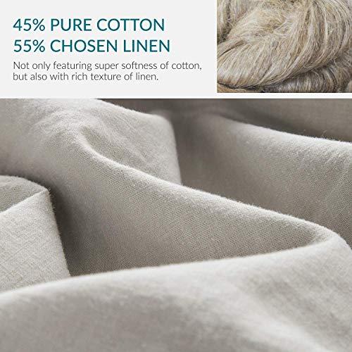 Bedsure 5545 Linen Cotton Duvet Cover Set Twin Size Greige Soft Breathable Comforter Cover Set 2 Piece Lightweight Bedding Sets Idea For Summer 0 1