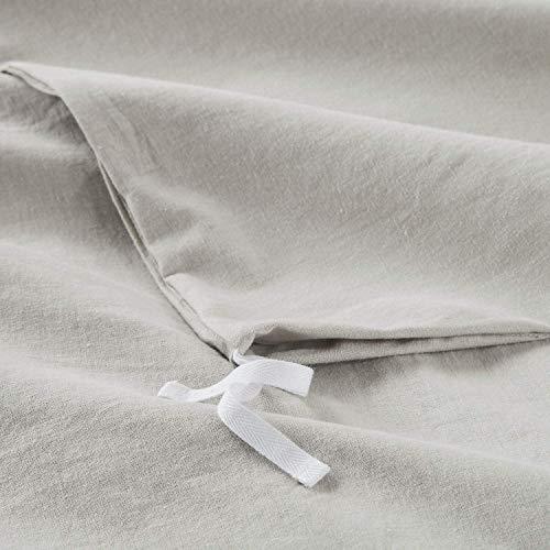 Bedsure 5545 Linen Cotton Duvet Cover Set Twin Size Greige Soft Breathable Comforter Cover Set 2 Piece Lightweight Bedding Sets Idea For Summer 0 4