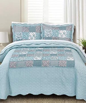 Blissful Living Luxury Ruffle Quilt Set Including Shams Lightweight And Soft For All Seasons Available In Twin FullQueen And King Size Twin Geraldine 0 300x360