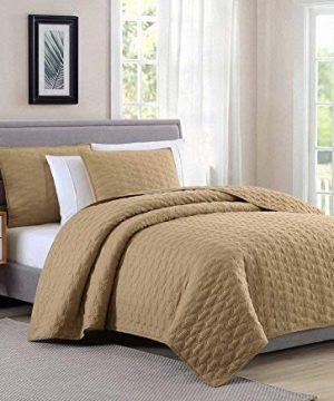 Bourina Reversible 3 Piece Full Quilt Set Microfiber Lightweight Comforter Oversized Bedspread Full Coverlet Set Gold 0 300x360