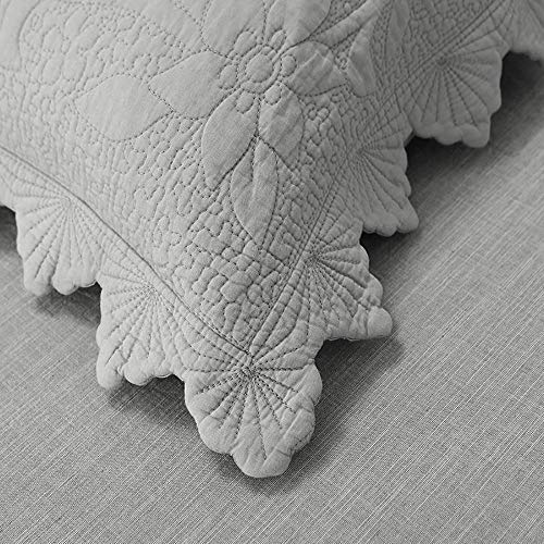 Brandream Luxury Farmhouse Bedding Quilt Set Grey King Size Quilted Bedspread Coverlet Set Cotton98x106 With Standard Size Pillow Shams 3 Piece 0 4