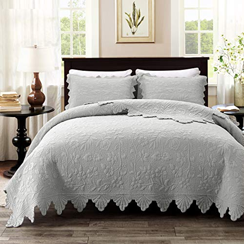 Brandream Luxury Farmhouse Bedding Quilt Set Grey King Size Quilted Bedspread Coverlet Set Cotton98x106 With Standard Size Pillow Shams 3 Piece 0