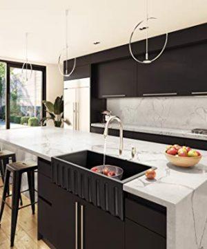 Brescia 36 Matte Black Kitchen Sink Farm Sink Fireclay Apron Front Single Bowl Farmhouse Sink 0 300x360