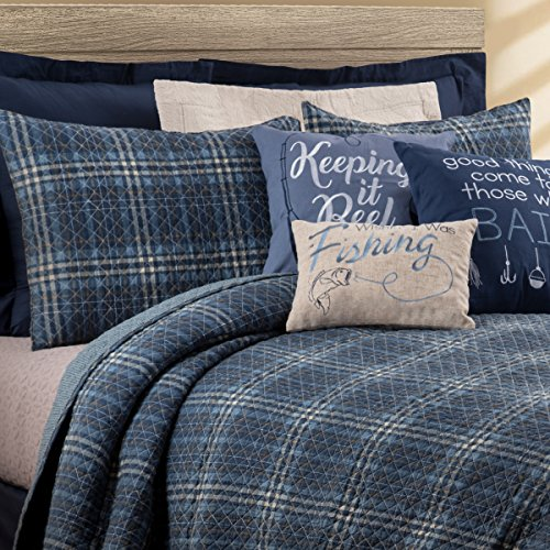 CF Home Anthony Navy Plaid Nautical Lake Farmhouse Lodge Rustic Barn Cotton 2 Piece Twin Machine Washable Reversible Quilt Set Twin 2 Piece Set Navy 0 0