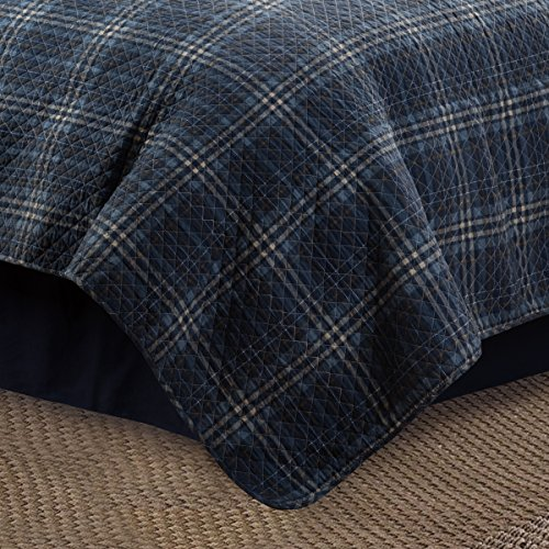 CF Home Anthony Navy Plaid Nautical Lake Farmhouse Lodge Rustic Barn Cotton 2 Piece Twin Machine Washable Reversible Quilt Set Twin 2 Piece Set Navy 0 1