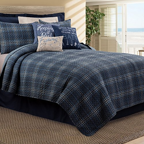 CF Home Anthony Navy Plaid Nautical Lake Farmhouse Lodge Rustic Barn Cotton 2 Piece Twin Machine Washable Reversible Quilt Set Twin 2 Piece Set Navy 0
