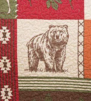 CF Home Keaton Forest Lodge Cabin Woods Bear Elk Moose Twin 2 Piece Machine Washable Reversible Quilt Set Twin 2 Piece Set Green 0 2 300x334