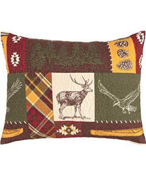 CF Home Keaton Forest Lodge Cabin Woods Bear Elk Moose Twin 2 Piece Machine Washable Reversible Quilt Set Twin 2 Piece Set Green 0 3 300x360