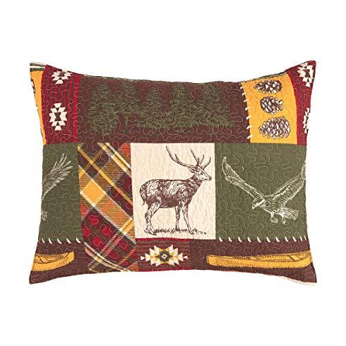 CF Home Keaton Forest Lodge Cabin Woods Bear Elk Moose Twin 2 Piece Machine Washable Reversible Quilt Set Twin 2 Piece Set Green 0 5