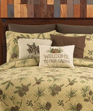 CF Home Woodland Retreat Pinecone Twin Quilt Set With 1 Sham Reversible Cotton Bedspread Coverlet Rustic Lodge Brown Twin 2 Piece Set Tan 0 0 300x360