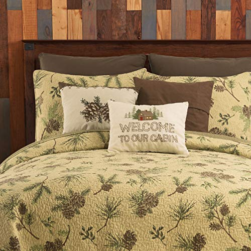 CF Home Woodland Retreat Pinecone Twin Quilt Set With 1 Sham Reversible Cotton Bedspread Coverlet Rustic Lodge Brown Twin 2 Piece Set Tan 0 0