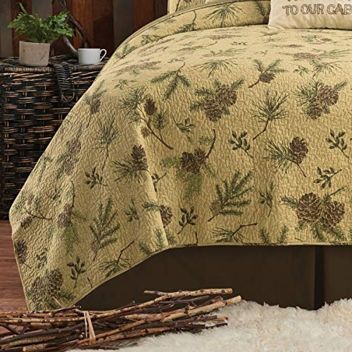 CF Home Woodland Retreat Pinecone Twin Quilt Set With 1 Sham Reversible Cotton Bedspread Coverlet Rustic Lodge Brown Twin 2 Piece Set Tan 0 1