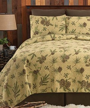 CF Home Woodland Retreat Pinecone Twin Quilt Set With 1 Sham Reversible Cotton Bedspread Coverlet Rustic Lodge Brown Twin 2 Piece Set Tan 0 2 300x360