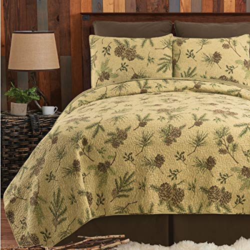 CF Home Woodland Retreat Pinecone Twin Quilt Set With 1 Sham Reversible Cotton Bedspread Coverlet Rustic Lodge Brown Twin 2 Piece Set Tan 0 2
