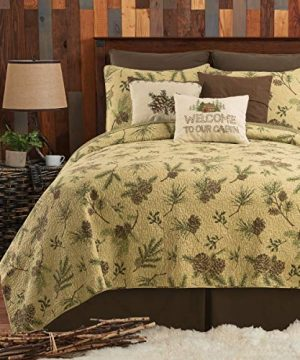 CF Home Woodland Retreat Pinecone Twin Quilt Set With 1 Sham Reversible Cotton Bedspread Coverlet Rustic Lodge Brown Twin 2 Piece Set Tan 0 300x360