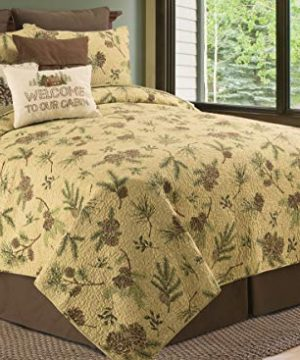 CF Home Woodland Retreat Pinecone Twin Quilt Set With 1 Sham Reversible Cotton Bedspread Coverlet Rustic Lodge Brown Twin 2 Piece Set Tan 0 4 300x360
